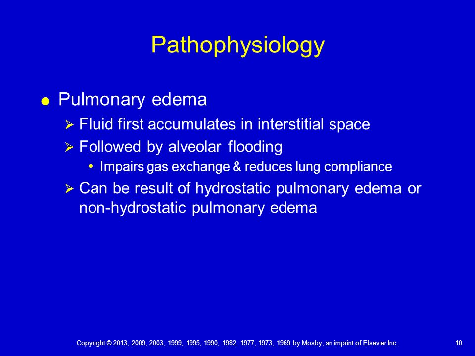 Pathophysiology Pulmonary edema