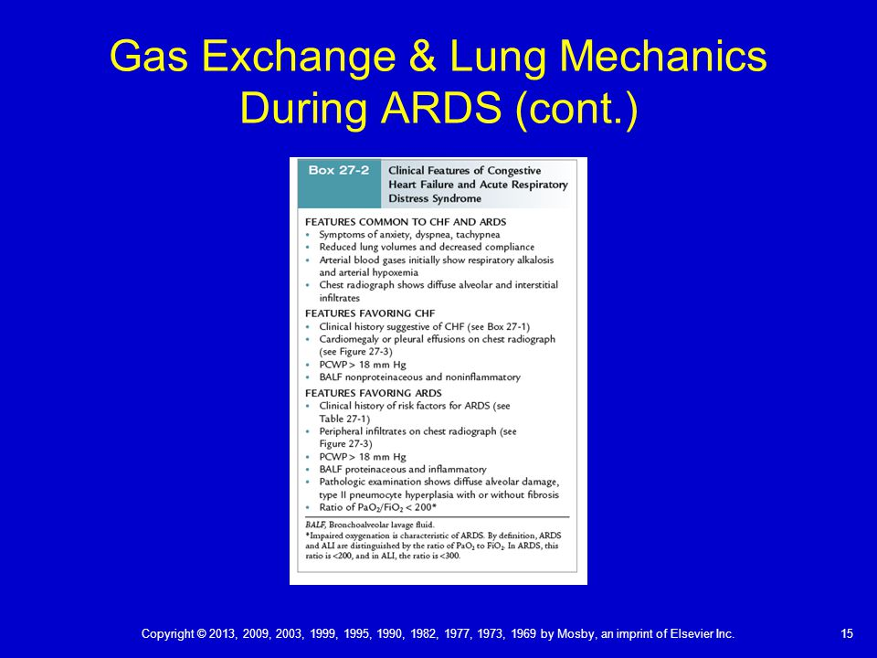 Gas Exchange & Lung Mechanics During ARDS (cont.)