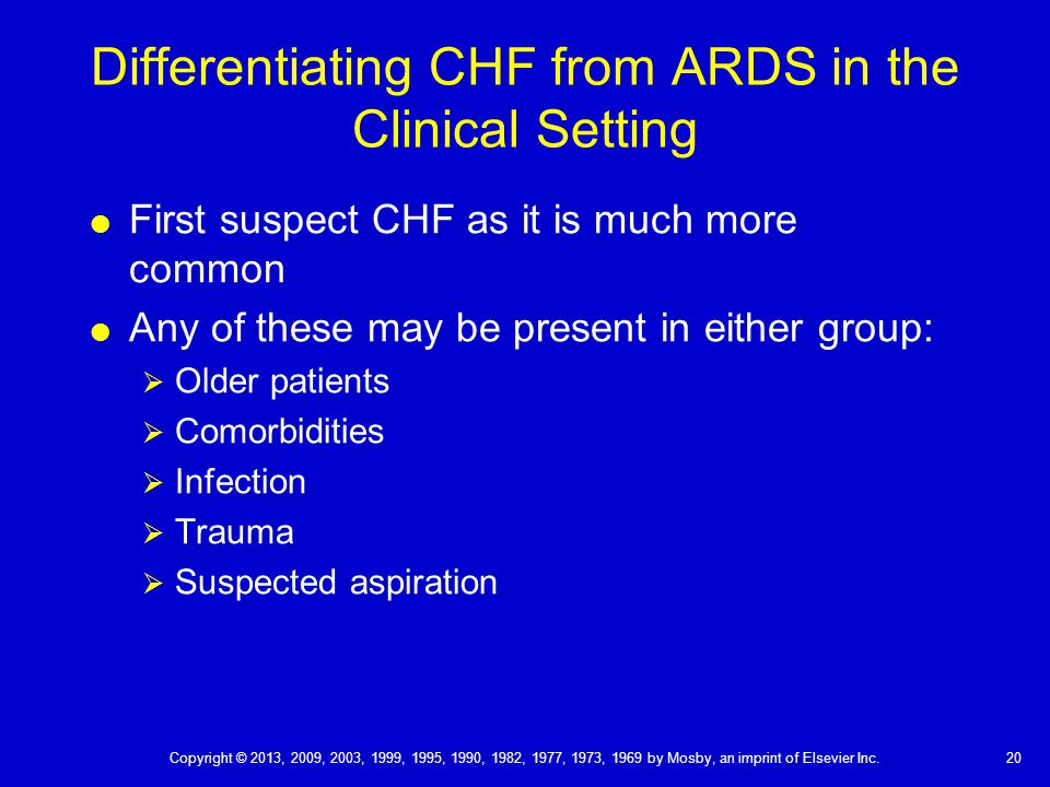 Differentiating CHF from ARDS in the Clinical Setting