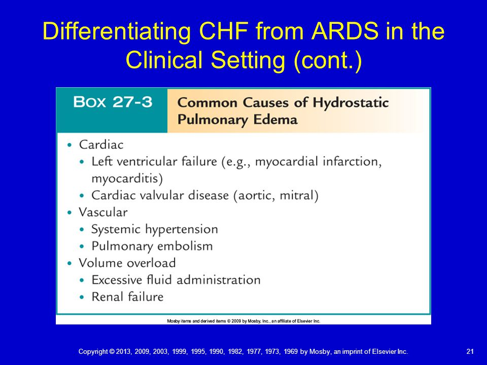 Differentiating CHF from ARDS in the Clinical Setting (cont.)
