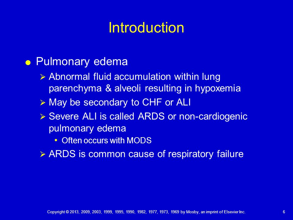Introduction Pulmonary edema