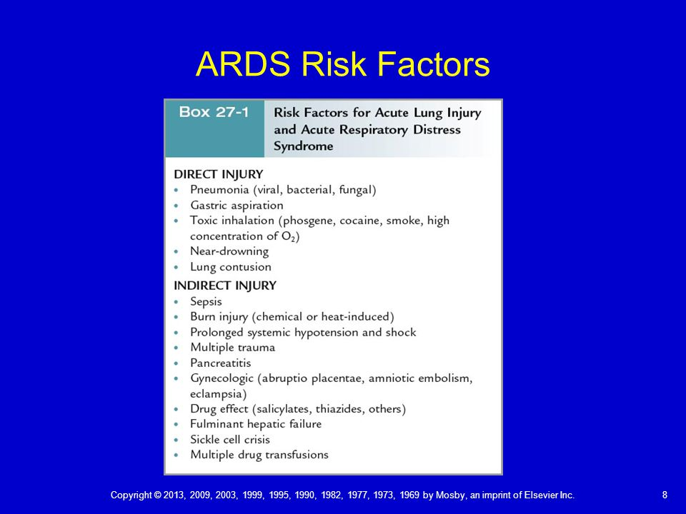 ARDS Risk Factors Copyright © 2013, 2009, 2003, 1999, 1995, 1990, 1982, 1977, 1973, 1969 by Mosby, an imprint of Elsevier Inc.