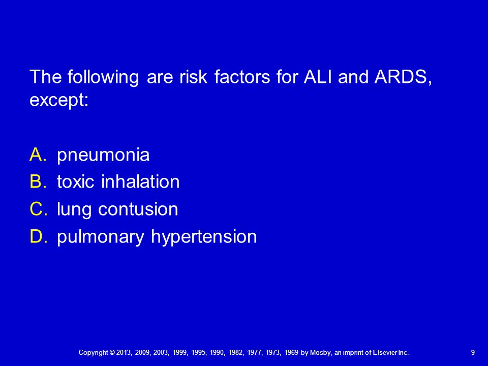 The following are risk factors for ALI and ARDS, except: