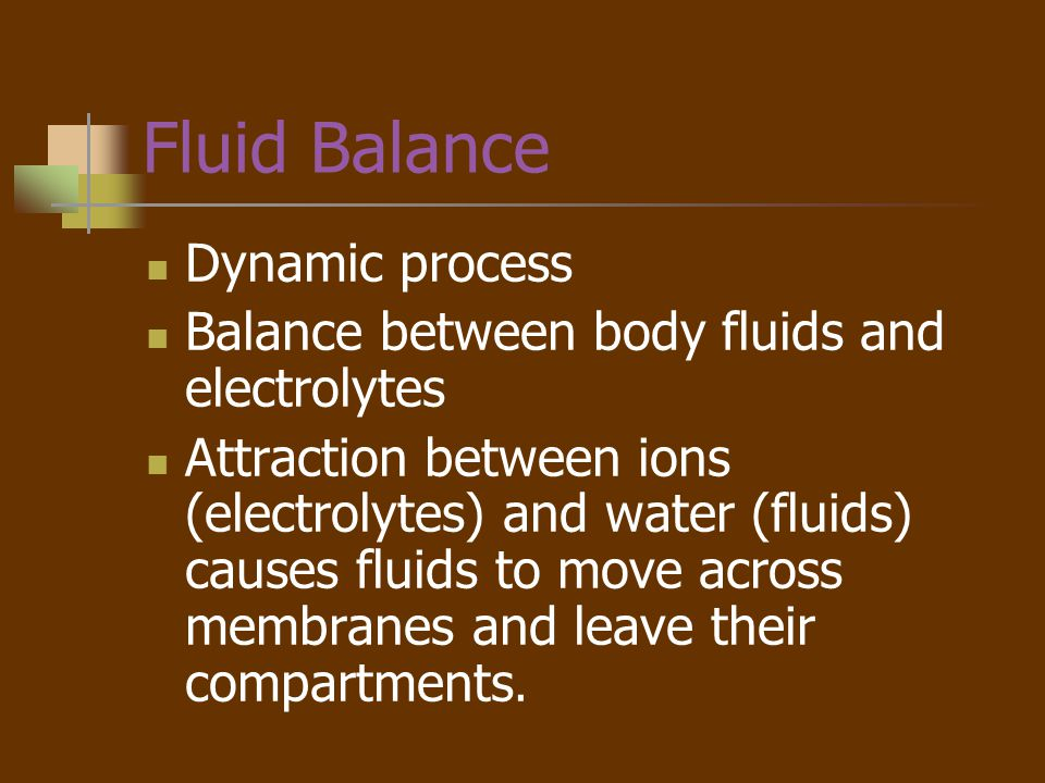 Fluid Balance Dynamic process