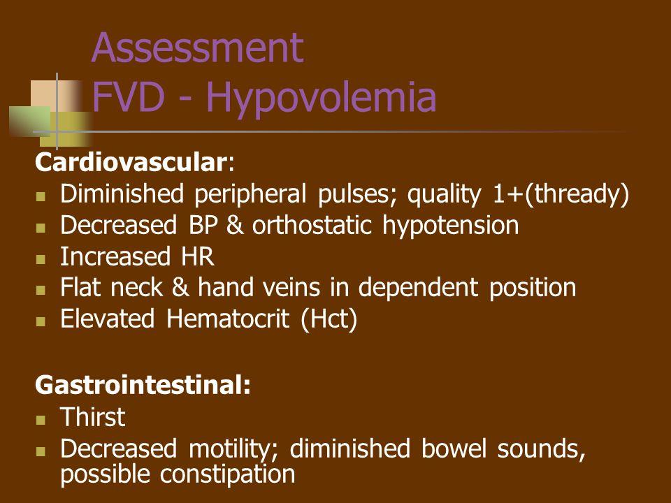 Assessment FVD - Hypovolemia