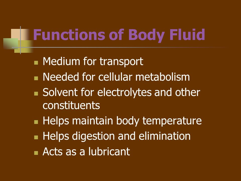 Functions of Body Fluid