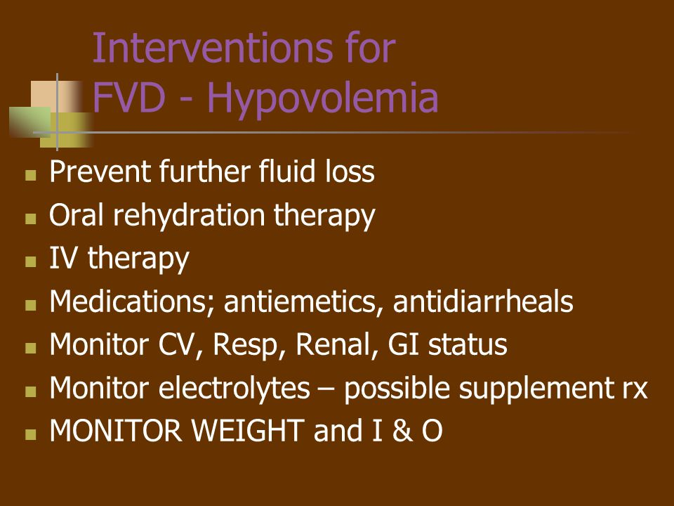 Interventions for FVD - Hypovolemia