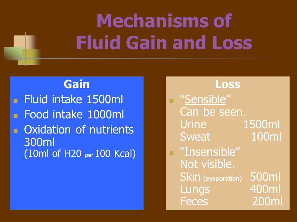 Mechanisms of Fluid Gain and Loss