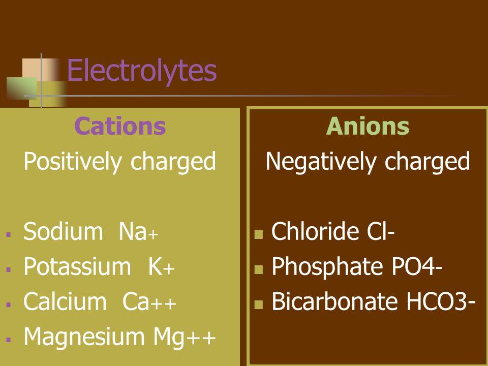 Electrolytes Cations Positively charged Sodium Na+ Potassium K+