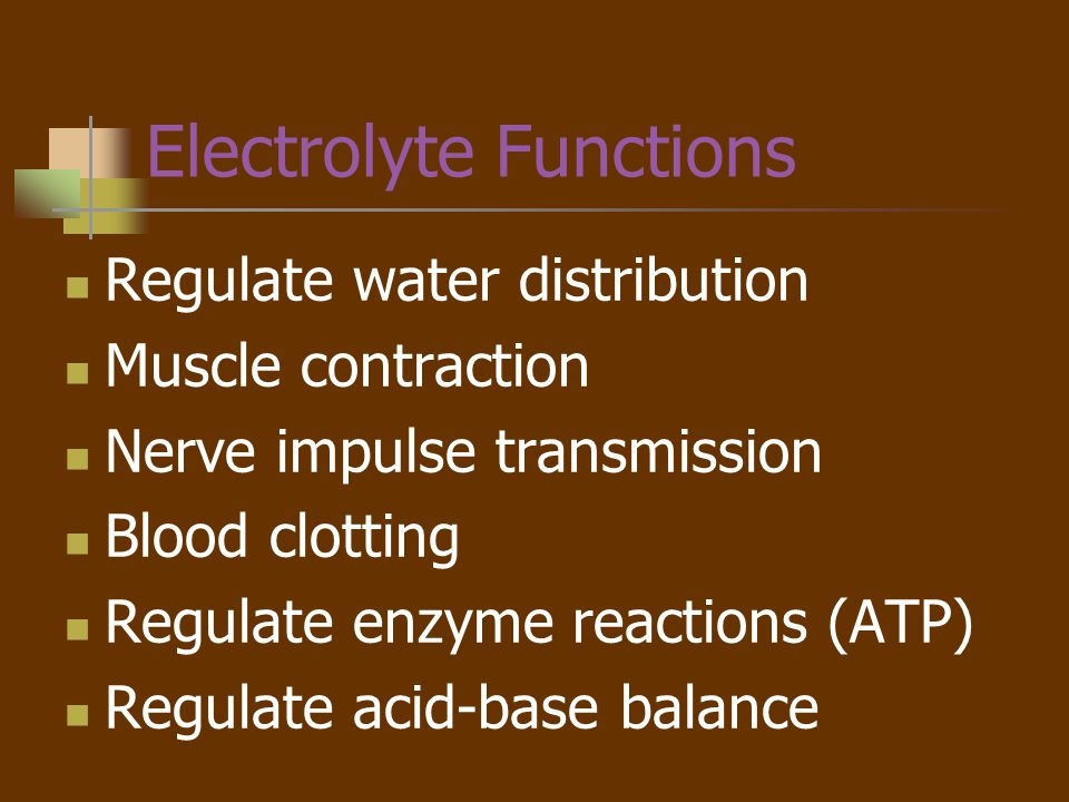Electrolyte Functions