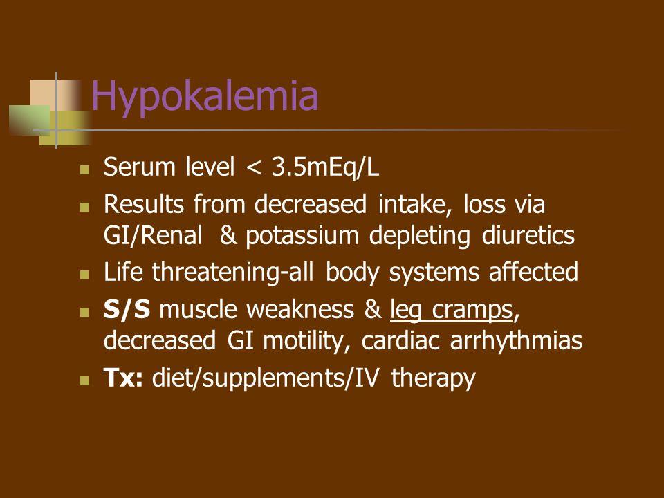 Hypokalemia Serum level < 3.5mEq/L