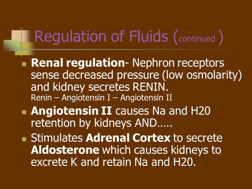 Regulation of Fluids (continued )