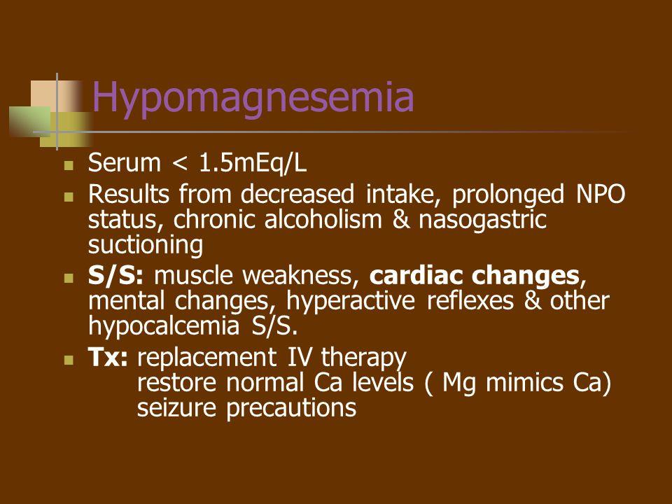 Hypomagnesemia Serum < 1.5mEq/L