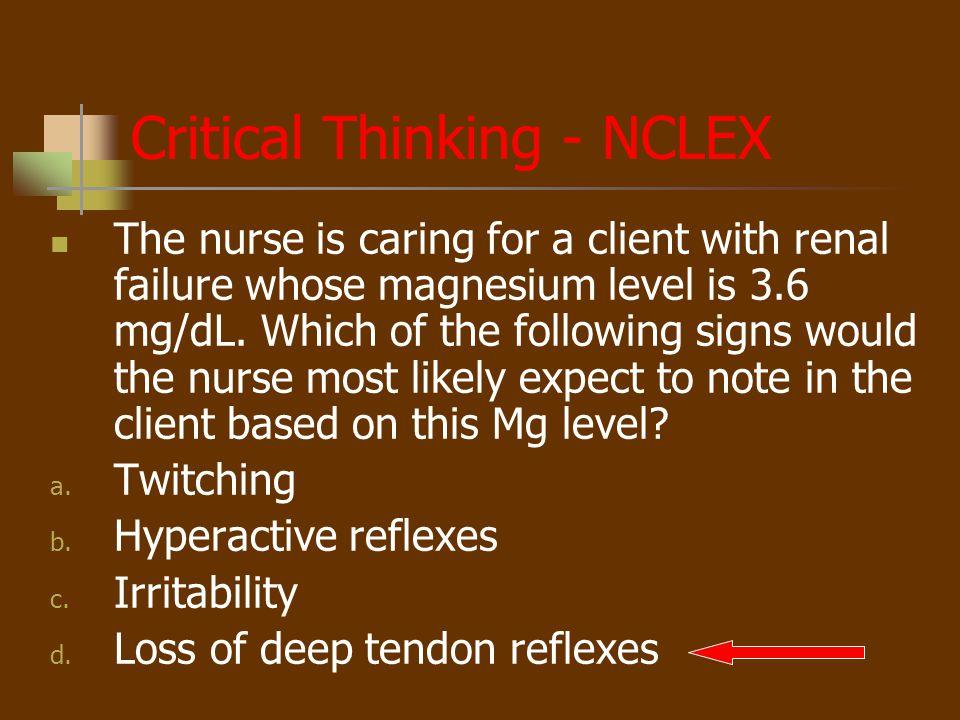 Critical Thinking - NCLEX