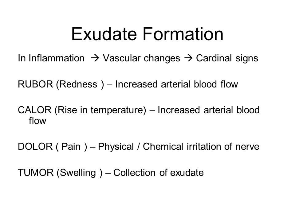 Exudate Formation In Inflammation  Vascular changes  Cardinal signs