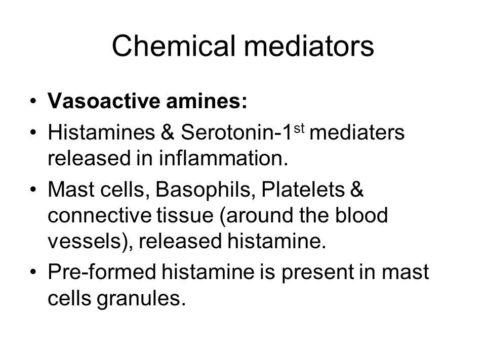 Chemical mediators Vasoactive amines: