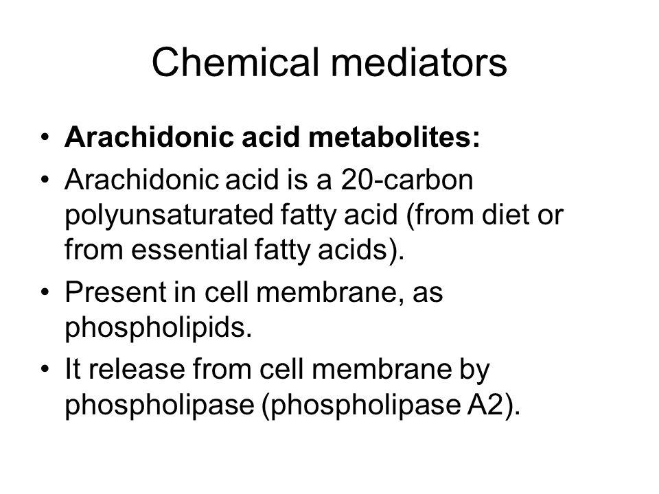 Chemical mediators Arachidonic acid metabolites: