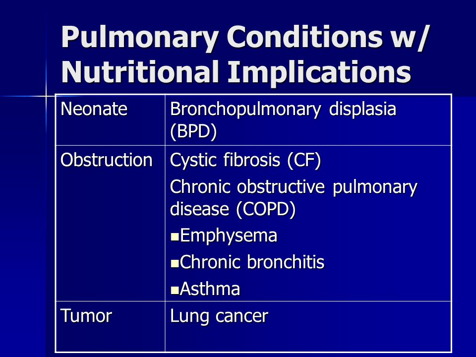 Pulmonary Conditions w/ Nutritional Implications