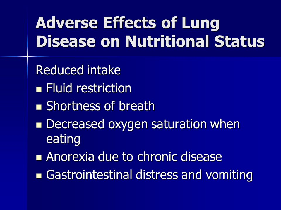 Adverse Effects of Lung Disease on Nutritional Status