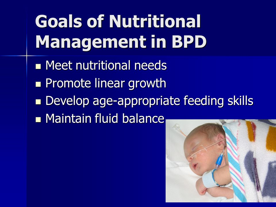 Goals of Nutritional Management in BPD