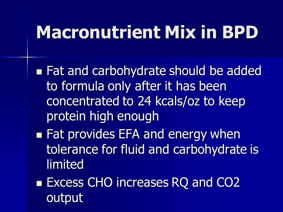 Macronutrient Mix in BPD
