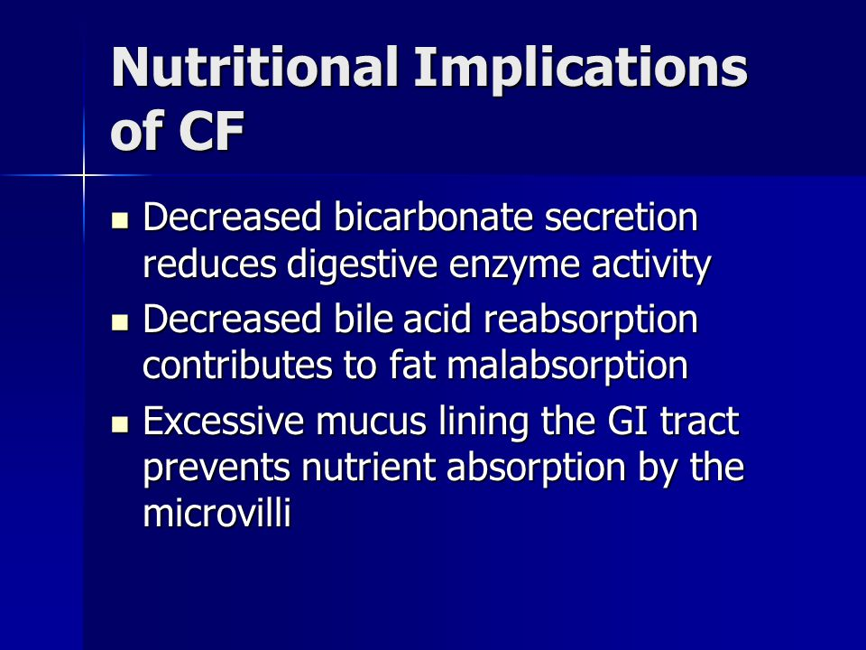 Nutritional Implications of CF