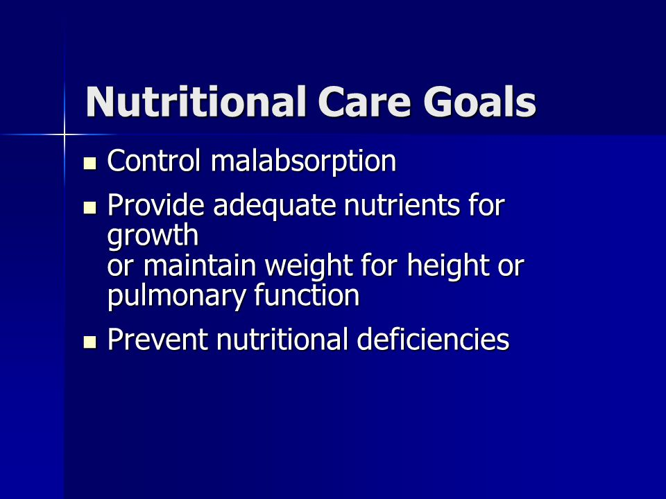 Nutritional Care Goals