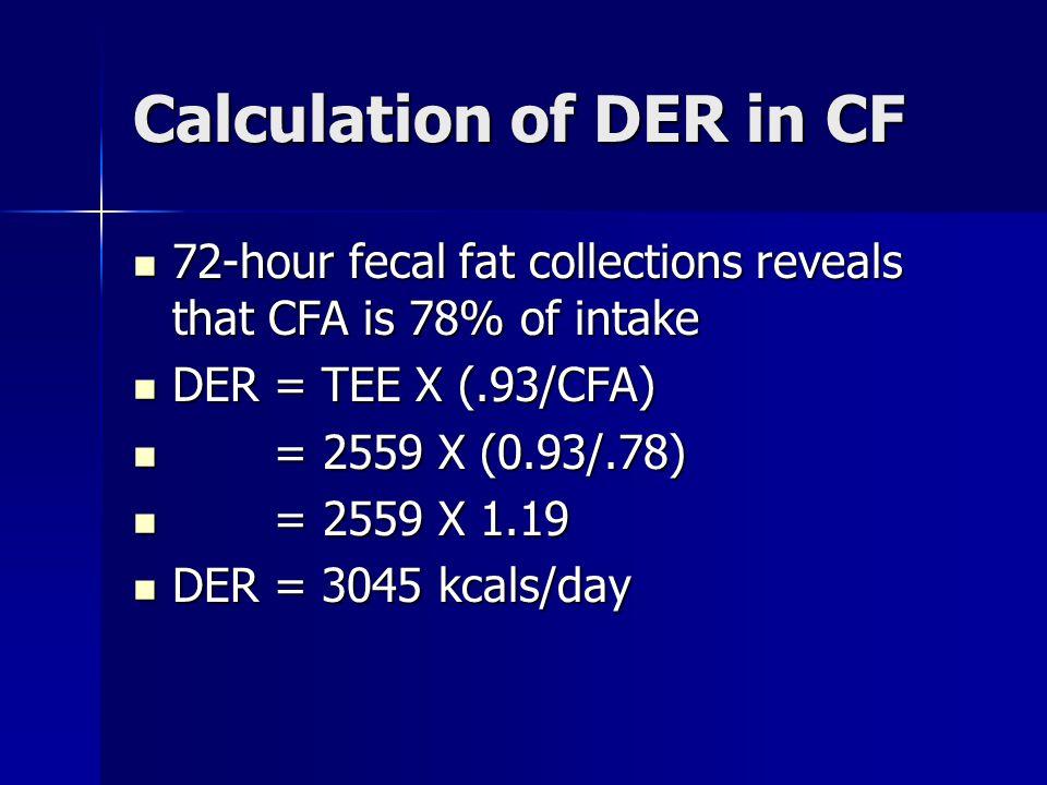 Calculation of DER in CF