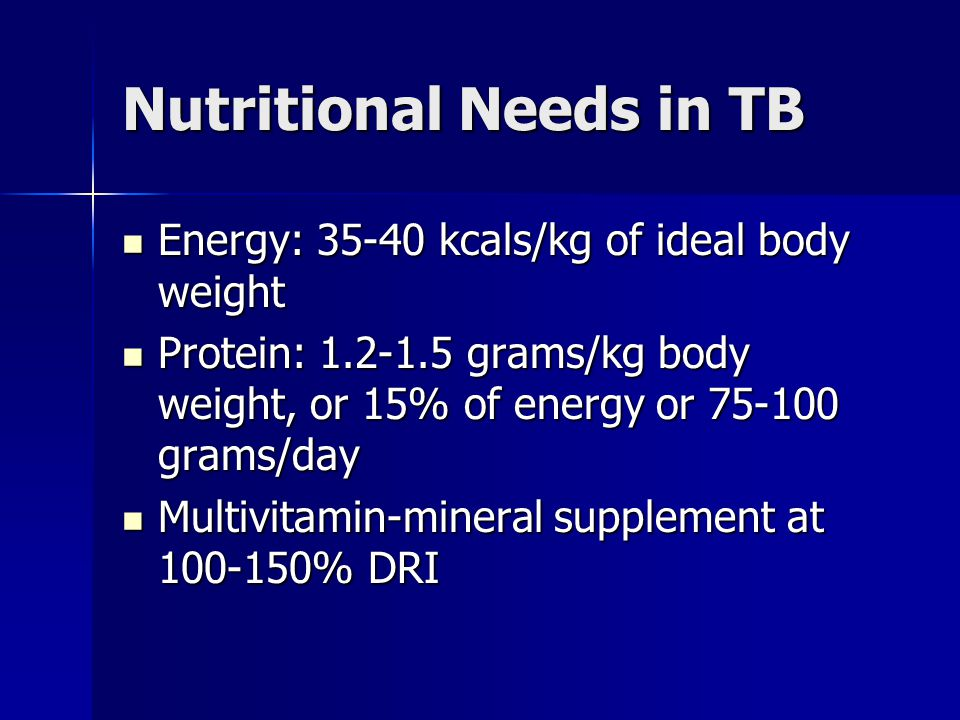 Nutritional Needs in TB