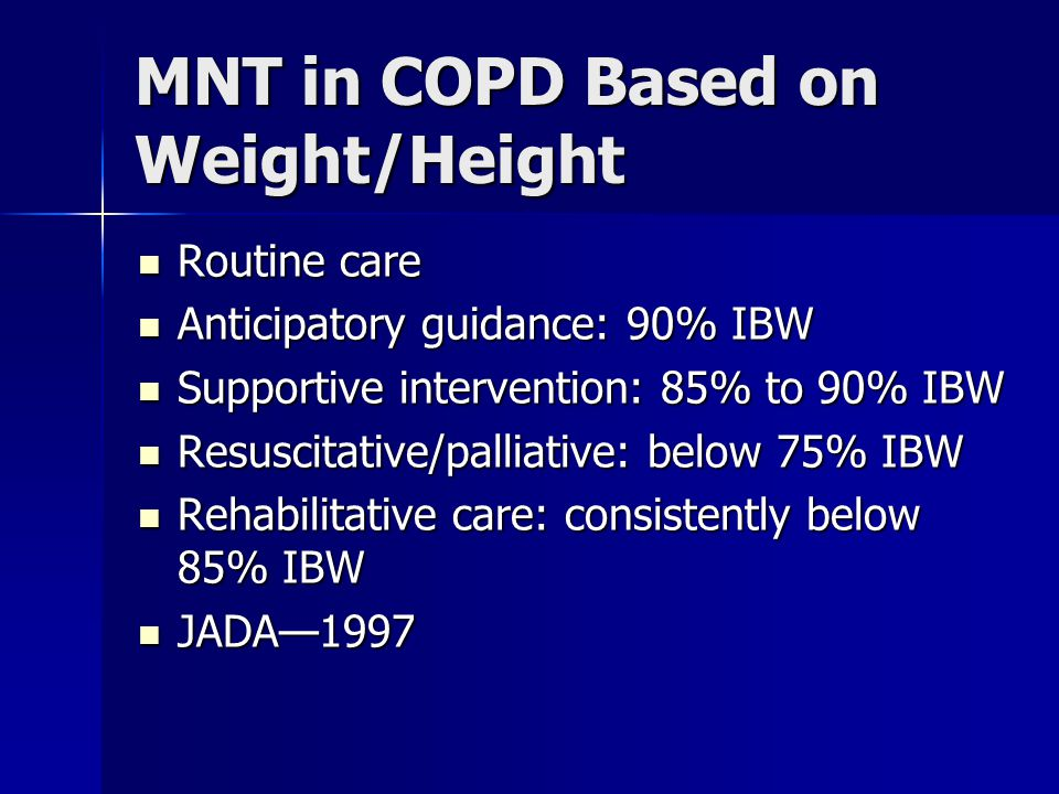 MNT in COPD Based on Weight/Height