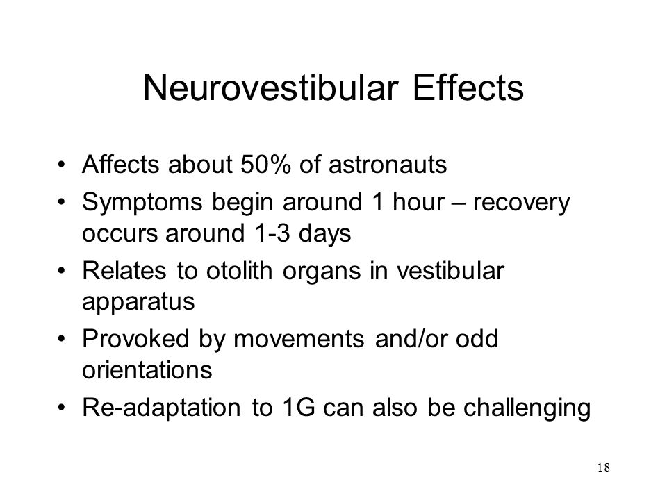 Neurovestibular Effects