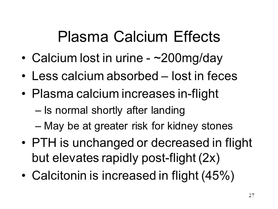 Plasma Calcium Effects