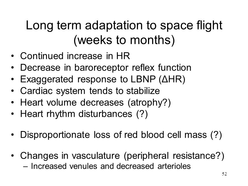 Long term adaptation to space flight (weeks to months)