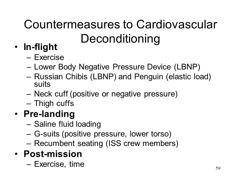 Countermeasures to Cardiovascular Deconditioning
