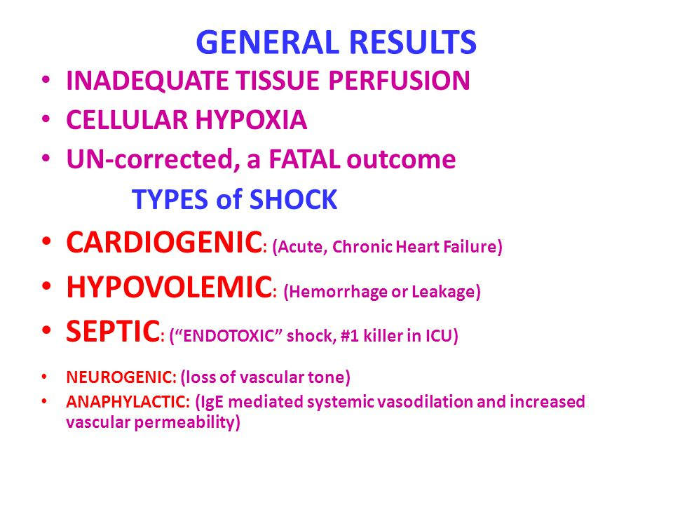 GENERAL RESULTS CARDIOGENIC: (Acute, Chronic Heart Failure)