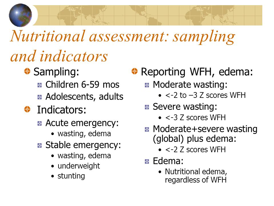 Nutritional assessment: sampling and indicators