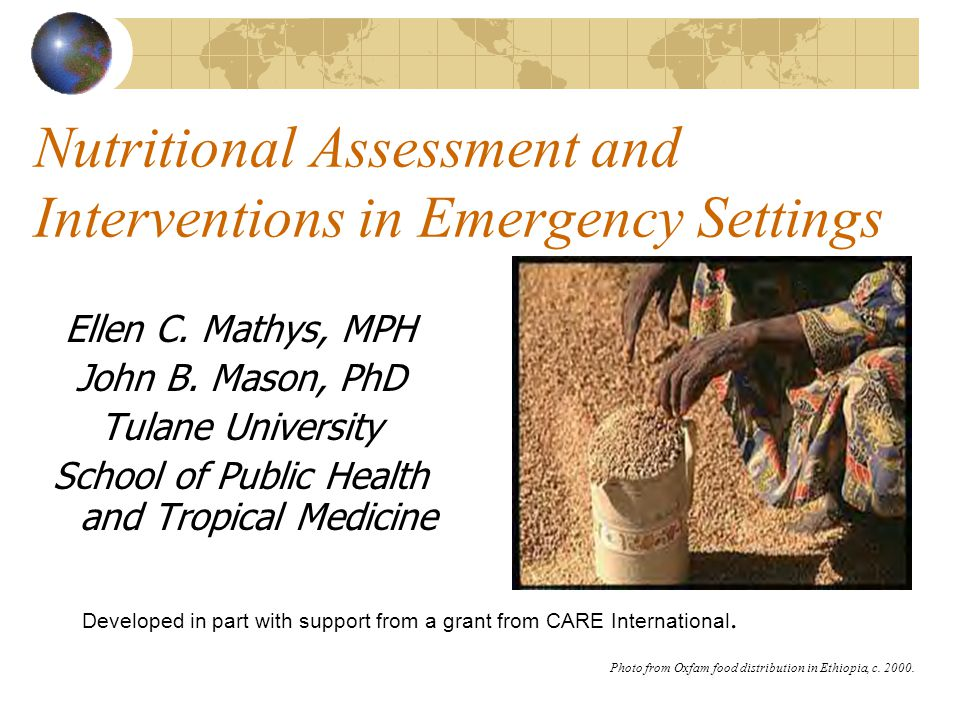 Nutritional Assessment and Interventions in Emergency Settings