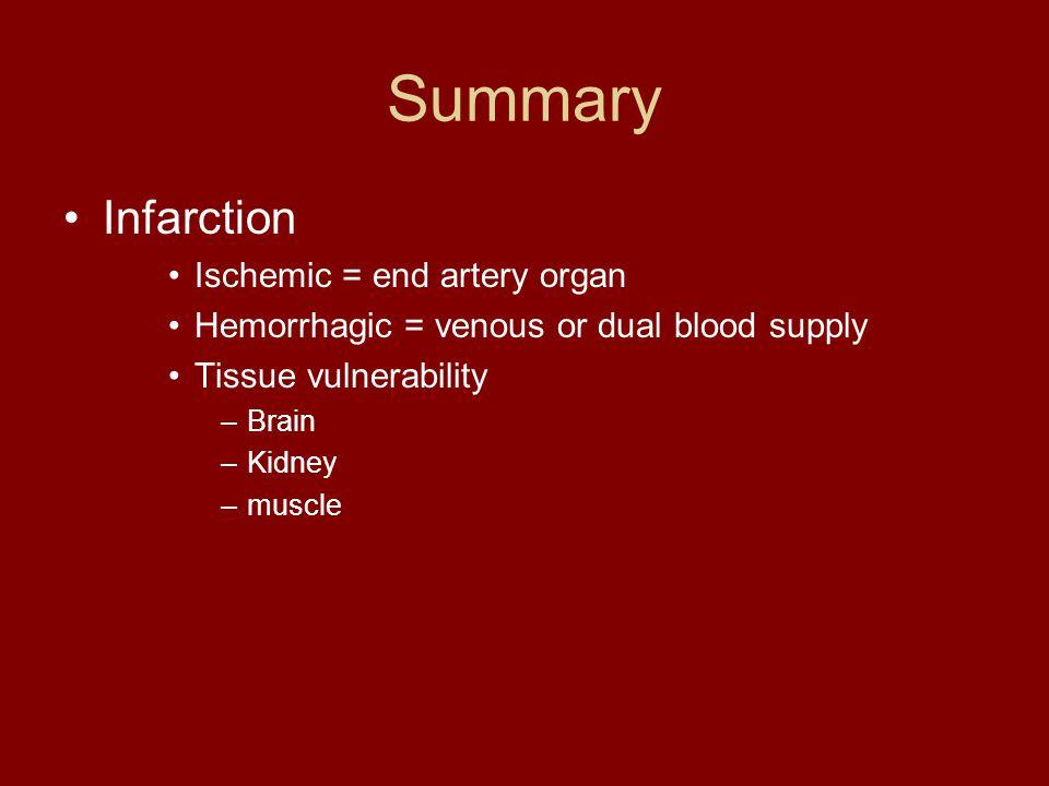 Summary Infarction Ischemic = end artery organ