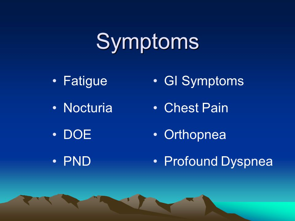 Symptoms Fatigue Nocturia DOE PND GI Symptoms Chest Pain Orthopnea