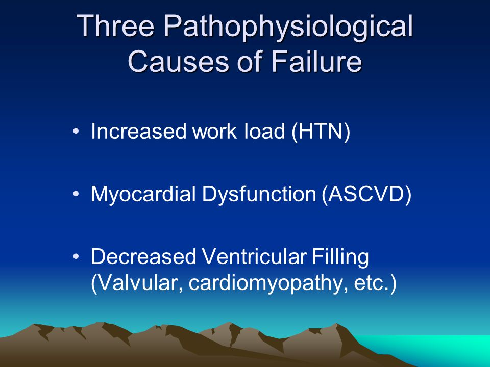 Three Pathophysiological Causes of Failure