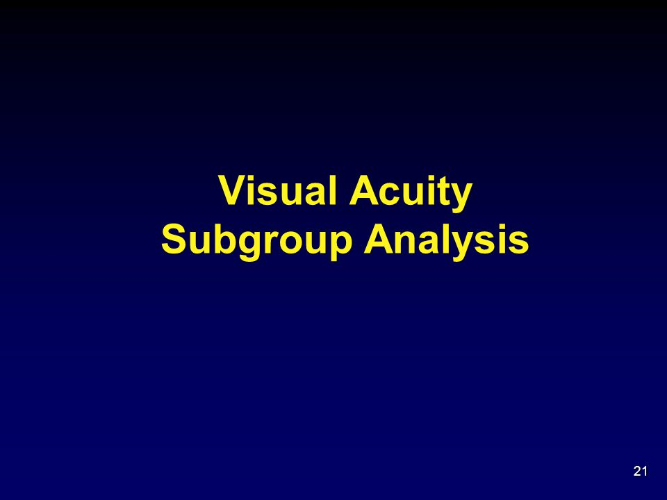 Visual Acuity Subgroup Analysis