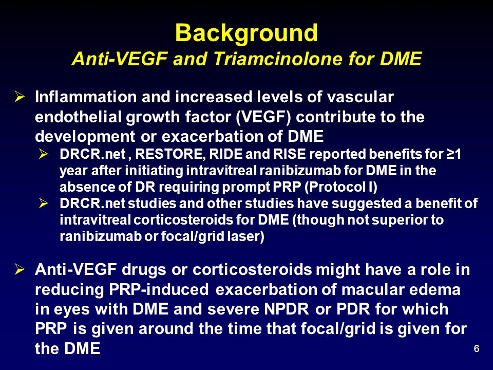 Background Anti-VEGF and Triamcinolone for DME