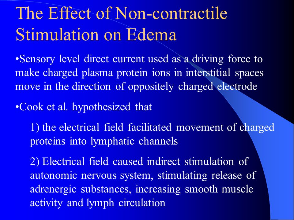 The Effect of Non-contractile Stimulation on Edema