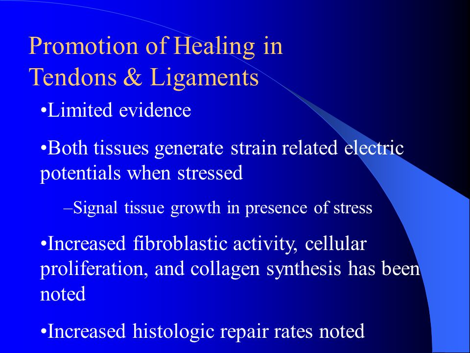 Promotion of Healing in Tendons & Ligaments