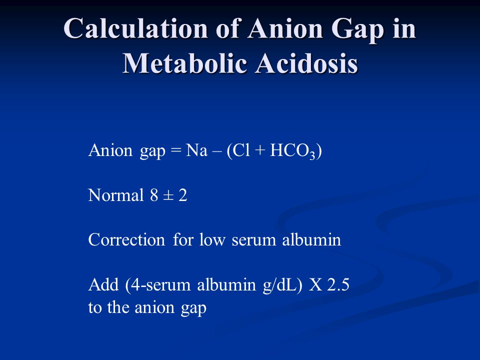 Calculation of Anion Gap in Metabolic Acidosis