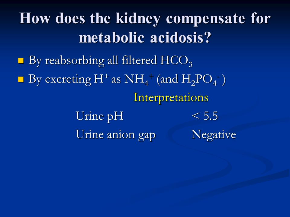 How does the kidney compensate for metabolic acidosis