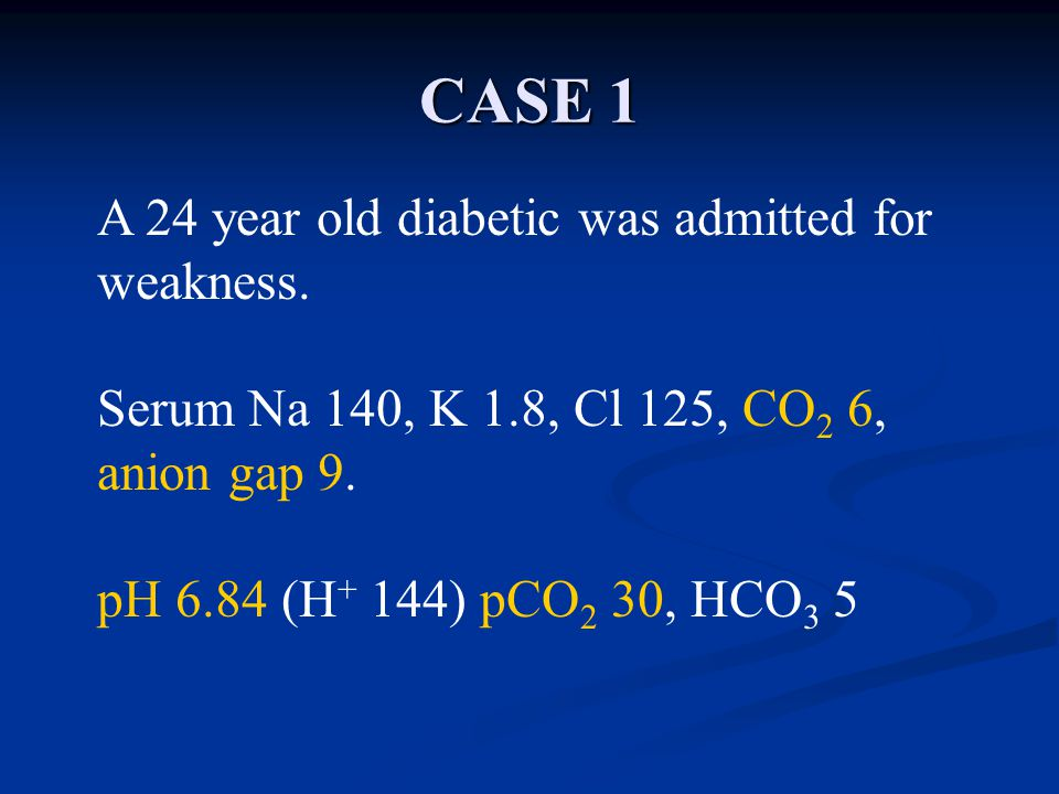 CASE 1 A 24 year old diabetic was admitted for weakness.