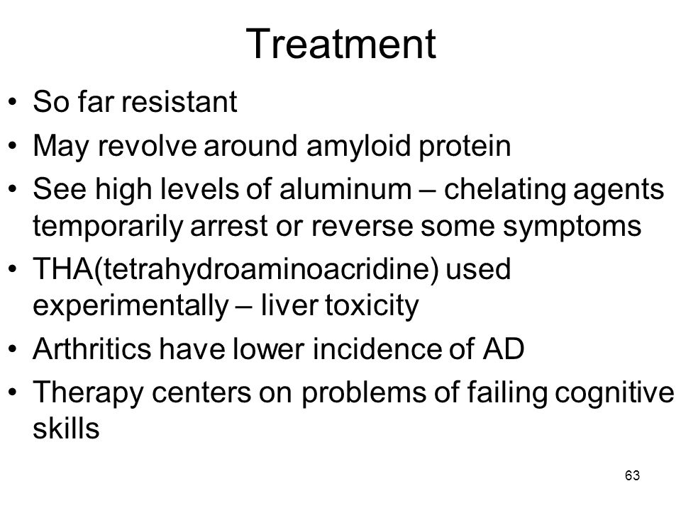Treatment So far resistant May revolve around amyloid protein