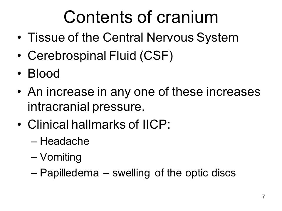 Contents of cranium Tissue of the Central Nervous System