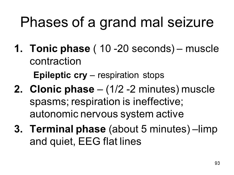 Phases of a grand mal seizure